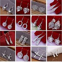 Ladies 925 Sterling Silver Plated Earrings Drop / Dangle Hoop Ball, Star, Dangly