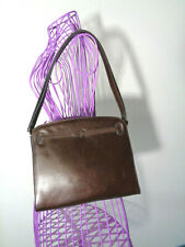Gold-Pfeil Sport Espresso Brown Leather Handbag Shoulder Bag WEST GERMANY Meeks