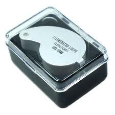 New Mini Illuminated 40X - 25mm Jewelers Loupe / Magnifier with LED Lights Tools
