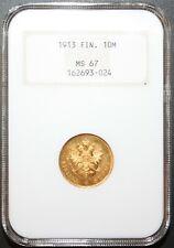 1913 S FINLAND G10 MARKKAA FINNISH GOLD COIN MS67 SUPER HIGH GRADE-ONLY 1 HIGHER