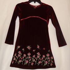 Velvet Burgundy Floral Dress Size 5T 6 Long Sleeves Girl's