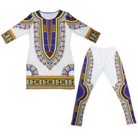 Traditional African Dashiki Print Shirt Tops +Pants 2 Piece Set Casual Outfit US