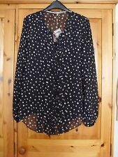 Ladies Long Sleeved Blouse/Shirt with Cami size 12 BNWT Navy/White Spots