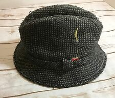 "Vintage Mens Hopkins Fifth Avenue Gray Fedora Hat Sz 7.5-7 5/8"" L"