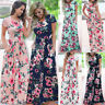 Women Floral Party Holiday Pleated Stretchy Sundress Ladies Maxi Boho Long Dress
