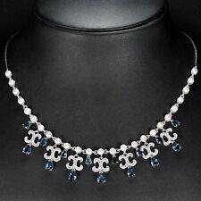 Collier Blautopas London Blue Perle & CZ 925 Silber 585 Weißgold