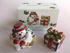 "FITZ & FLOYD ""Plaid Christmas"" salt & pepper shakers new in box"