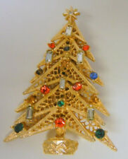 Vintage Gorgeous Designer Signed Art Rhinestones Christmas Tree Pin Brooch