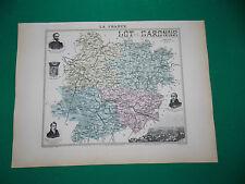 LOT ET GARONNE CARTE ATLAS MIGEON Edition 1885, Carte + fiche descriptive