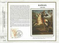 Foglio CEF 1er Giorno Sul Seta Francia Raphael 1983