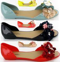 Ladies Womens Flat Peep Toe Jelly Shoes Slip On Mule Summer Sandal New Shoe Size