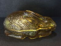 c1870 Vallerysthal Portieux, Rabbit Covered Dish, Amber, Mint, Rare, Free Ship