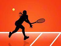 Sport Illustration Tennis Silhouette Racket Ball Red Court Canvas Art Print
