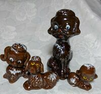 Vintage Redware Brown Mom And 3 Baby Poodles Dog Figurines made in Japan
