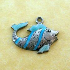 Vintage German Silver Charm Enamel Striped Fish