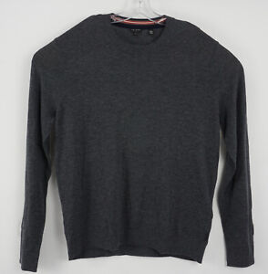 New $149 Ted Baker Chemin Men's Size 7 Slim Gray Wool Cashmere Knit Crew Sweater