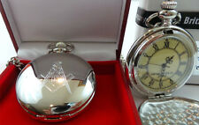 SILVER PLATED Freemason Masonic FULL HUNTER POCKET WATCH in Luxury Gift Box