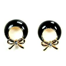 CUTE BOW EARRINGS Gold Plate Rhinestone Black Enamel HIGH QUALITY Post Round NEW