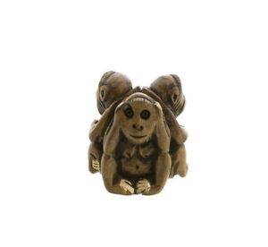 3 Scimmie Da La Saggezza IN Legno Per Fatto Mano Soprammobile Personaggio H5.3cm