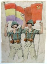 1936 Original Art for a Spanish Civil War Propaganda Poster: Soldiers with Flags