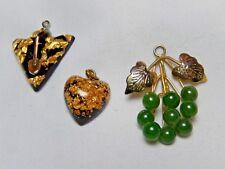 Gold & Jade Pendants Vintage Lot of 3