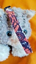 New listing Handmade Fabric Cat Collar. Floral of Coral,Gray & White On Navy