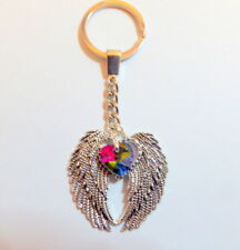 Remembrance Keyring Antique Silver Large Double Angel Wings Rainbow Crystal Gift