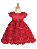 New Toddler Kids Flower Girls Satin Red Dress Christmas Pageant Holidays 936