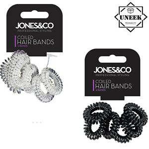 6pk SPIRAL HAIR Bobbles Spiral Coil Elastic Tie Bands Stretchy Wired Plastic G56