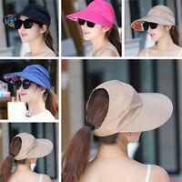 Women UV Protect Foldable Large Brim Visor Cap Beach Sun Hat Outdoor YJ