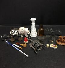 Vintage Junk Drawer Lot - 16 Items - Vase,Bobber,Cookie Cuters,Bottle,Pipe,Dice