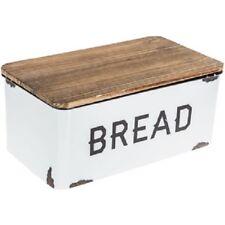 Bread Box Farmhouse White Vintage Retro Style Enamel Shabby Food Storage Chic