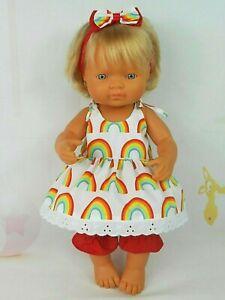 Dolls clothes for 38cm Miniland / 34cm Minikane Doll~ RAINBOW STRAP DRESS SET