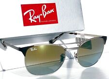 NEW* Ray Ban CLUBMASTER Silver Black 55mm Green mirrored Sunglass RB 3249