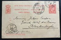 1897 Luxembourg Postal Stationery Postcard Cover to  Blankenberge Belgium