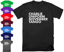 Mens CHARLIE UNIFORM Funny Offensive Rude T Shirt Christmas Gift for Dad S - 5XL