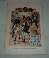 Antique Print FEDERAL UNIFORMS BADGES DURING THE CIVIL WAR 1861-1865 H A OGDEN