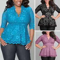Fashion Women Sexy Lace Loose Long Sleeve Blouse Casual Shirt Tops PLUS SIZE XL
