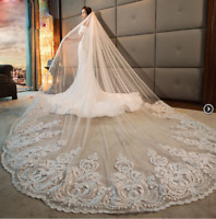 4M 5M Wedding Bridal Long Veils Church Cathedral Length With Comb White Ivory 1T