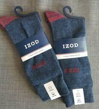 Lot of 2 NWT IZOD Crew Socks Men's Shoe Size 6-12.5 Blue Red Stretch w/ Wicking