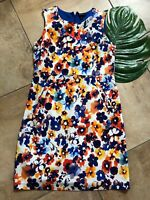 Lands End Women 14 Blue Floral Cotton Blen Sleeveless Ponte Knee Sheath Dress HH