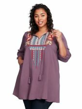 NEW ANDREE BY UNIT PURPLE ROLL TAB SLEEVE EMBROIDERED TUNIC TOP MEDIUM M