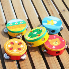 CARTOON WOODEN TAMBOURINE JINGLE PERCUSSION MUSICAL INSTRUMENT KIDS TOY CHEERFUL