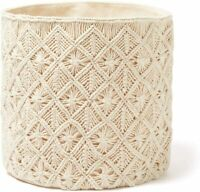 Americanflat Woven Macrame Storage Basket, Natural Cotton Rope (Natural)