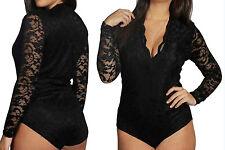 New Womens Ladies Long Sleeve Floral Lace Bodysuit Flower Lace Top Leotard 16-24