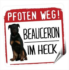 Auto Aufkleber REFLECTIVE BEAUCERON SCHÄFERHUND PFOTEN WEG Hunde BY SIVIWONDER