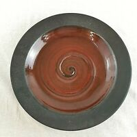 Large Shallow Bowl by Made in Cley Studio Pottery Iron Red Glaze Excellent
