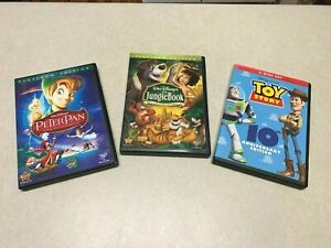 Lot of 3 Disney DVD's Toy Story and Platinum Editions of Peter Pan & Jungle Book