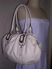 New KATHY VAN ZEELAND Ivory White Purse Silver Hardware Hobo Slouch Shoulder Bag