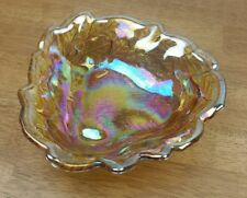 Carnival Glass Grapes and Leaves Bowl / Candy Dish Amber Iridescent Indiana